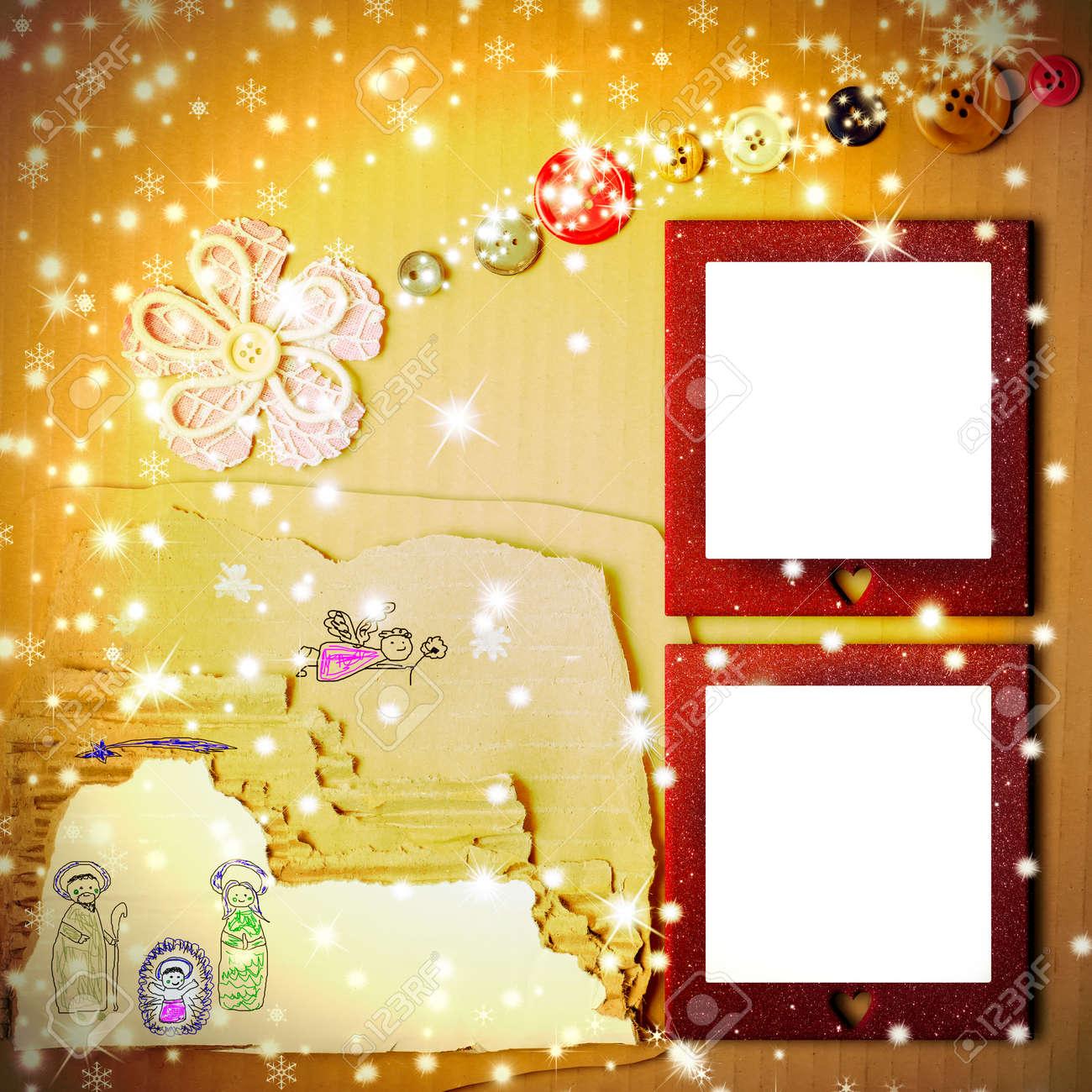 Fröhliche Weihnachten Zwei Bilderrahmen Karte, Kinder Krippe ...
