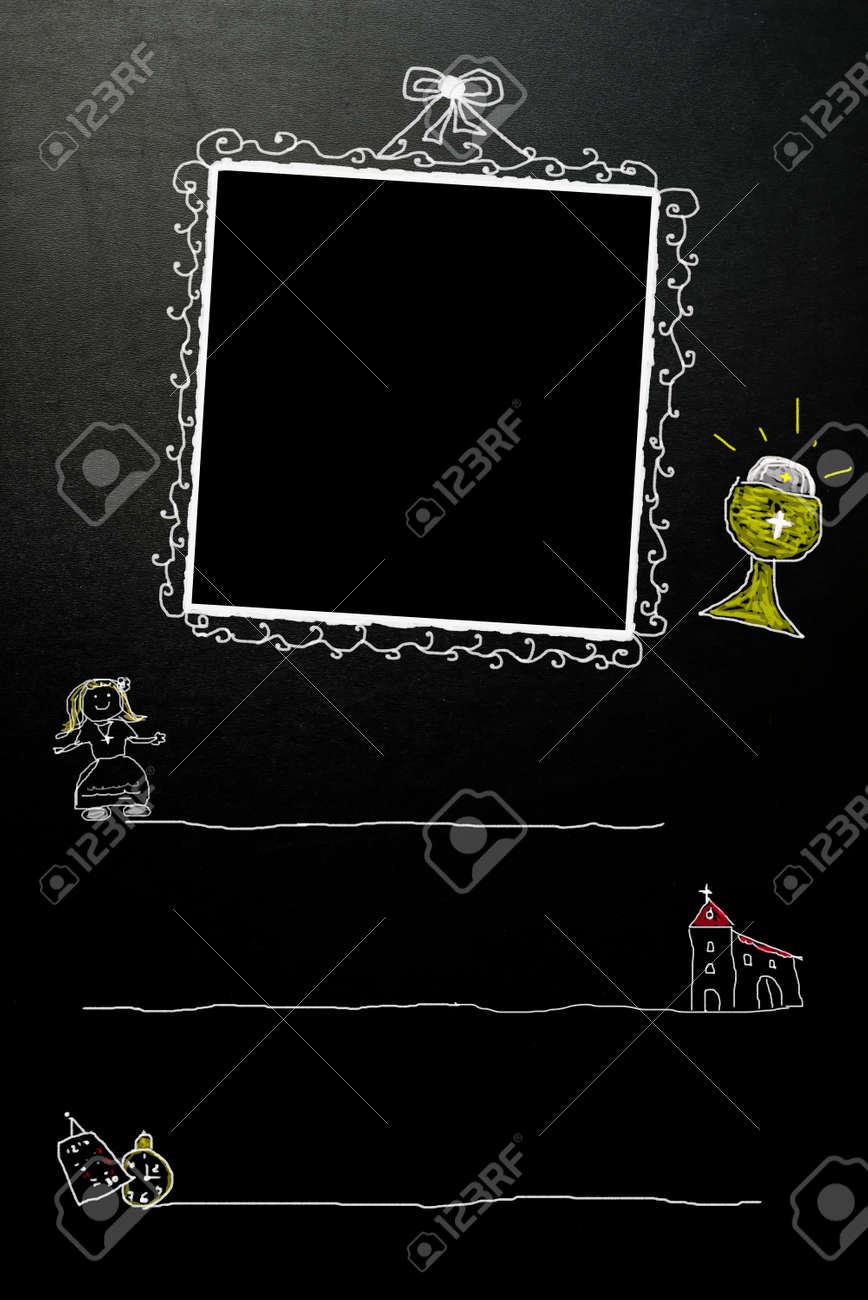 Kommunion Karte Schreiben.Stock Photo