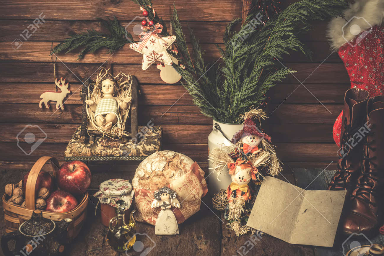 Christmas Cards Baby Jesus At Home With Food Offerings And Christmas