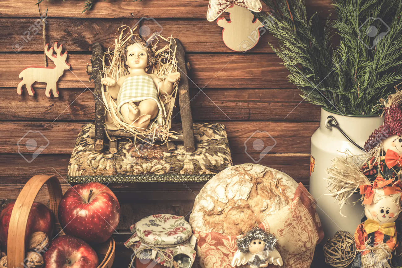 christmas cards baby jesus at home with food offerings and christmas decorations shabby style