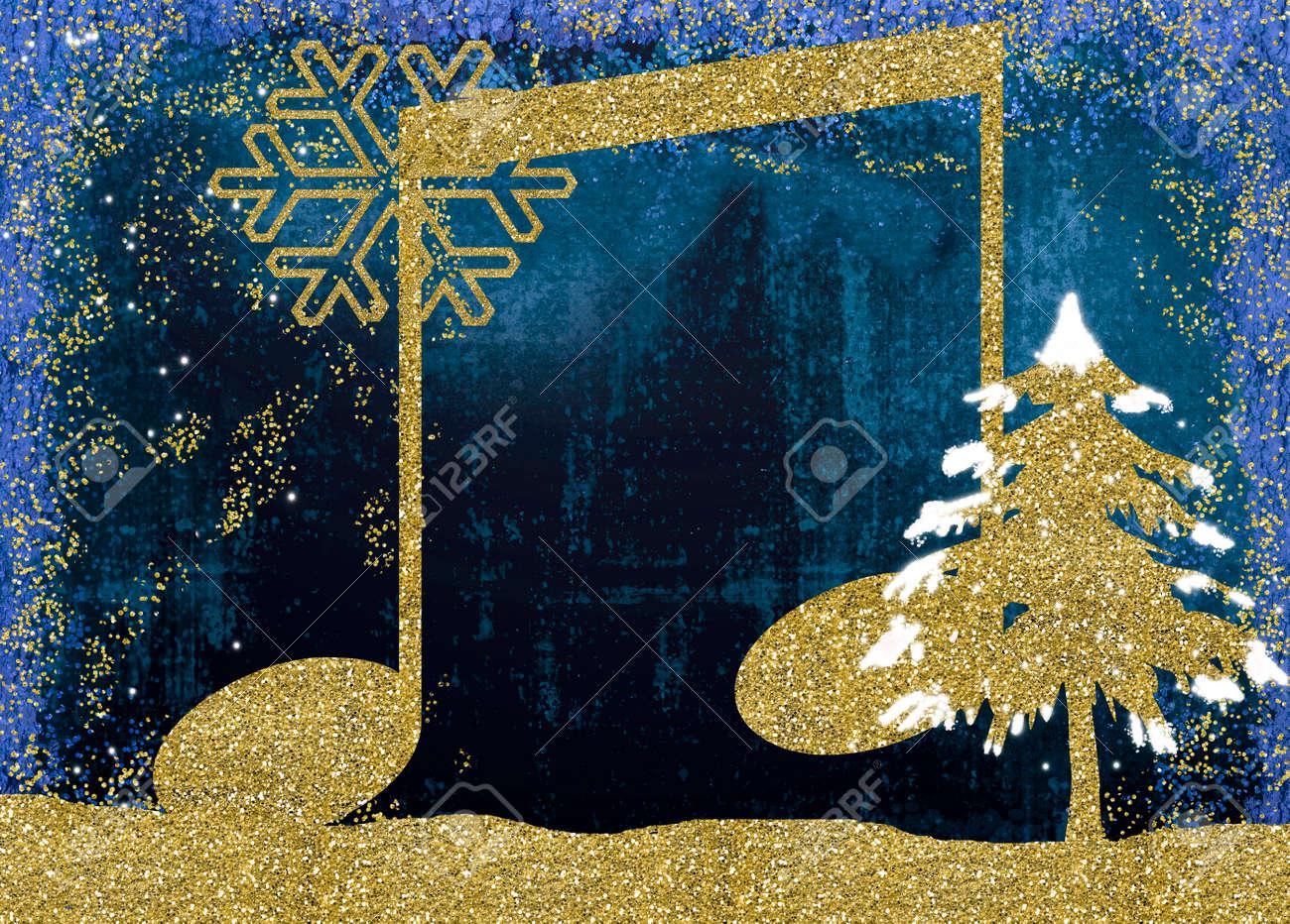Christmas Musical Card, Musical Note Christmas Tree And Snowflake ...