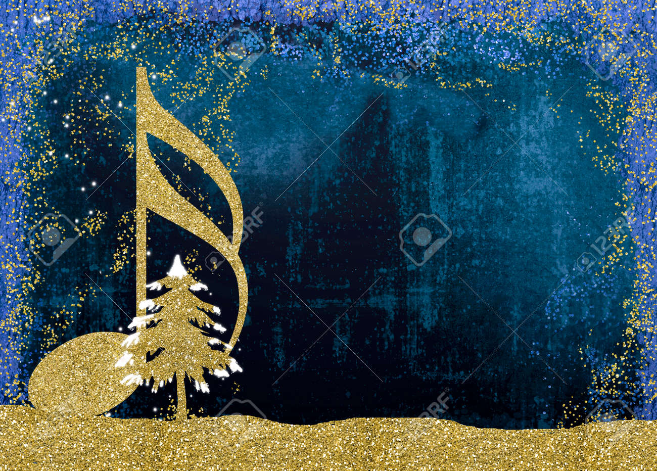 Christmas musical card. Semiquaver and Christmas tree golden glitter texture on blue background with copy space. - 87332560