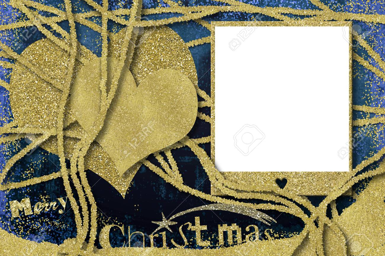 Christmas Photo Frame Cards, Glitter Gold Hearts And Empty Photo ...
