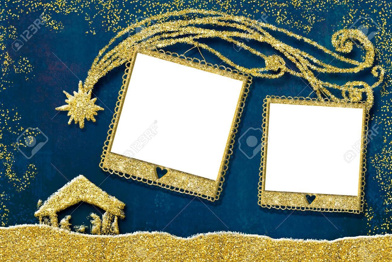 Weihnachtsfotorahmen Karte. Zwei Leere Bilderrahmen, Krippe Und Baum ...