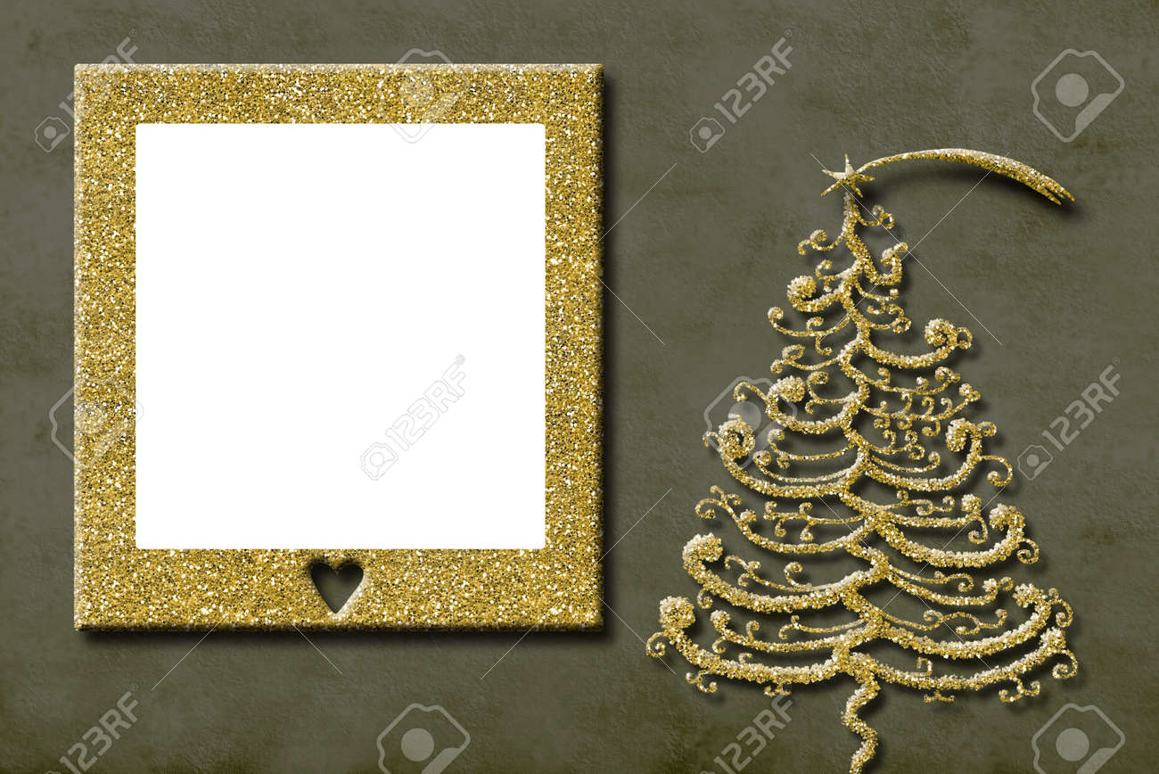Christmas Photo Frame Cards. Golden Christmas Tree Freehand Drawn ...