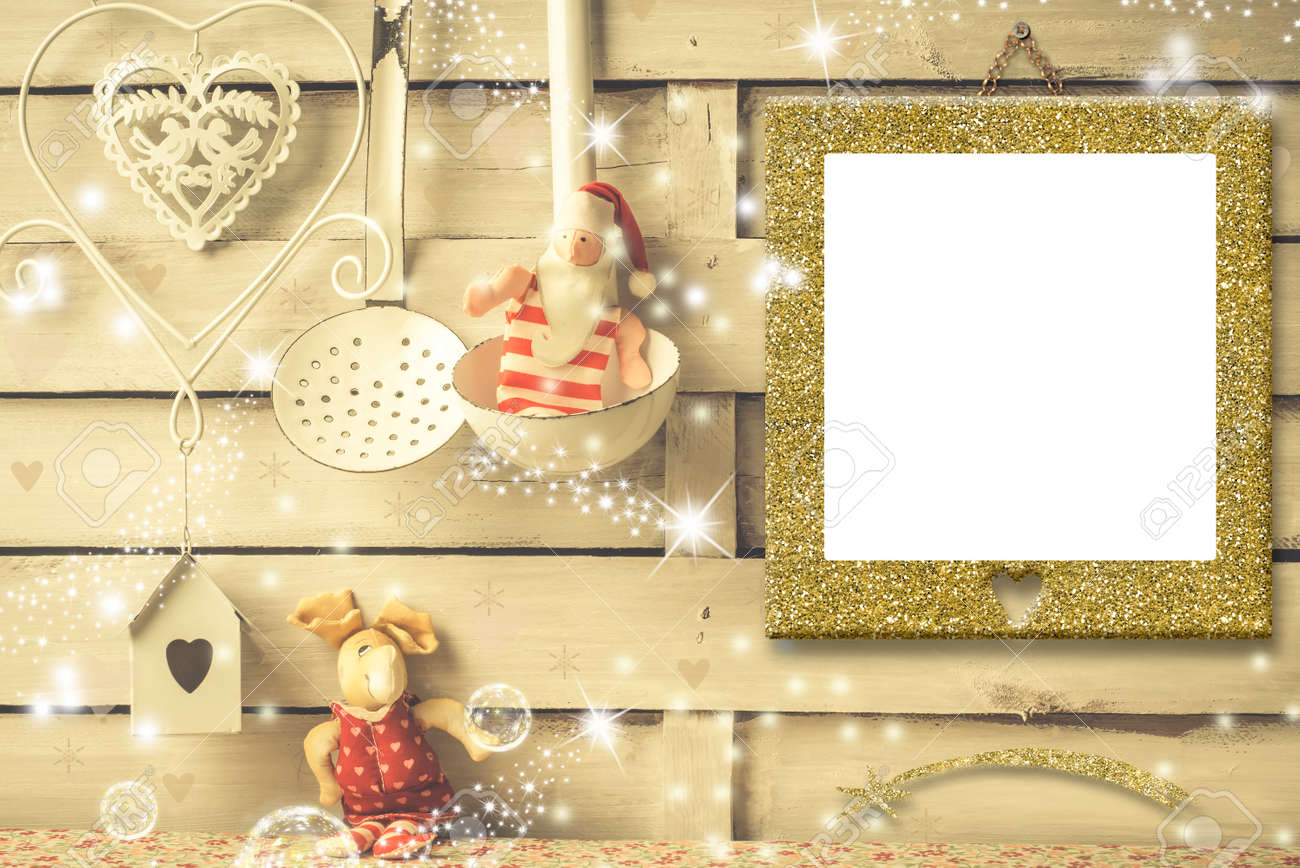 Christmas Photo Frames Cards, Empty Picture Frame Hanging On.. Stock ...