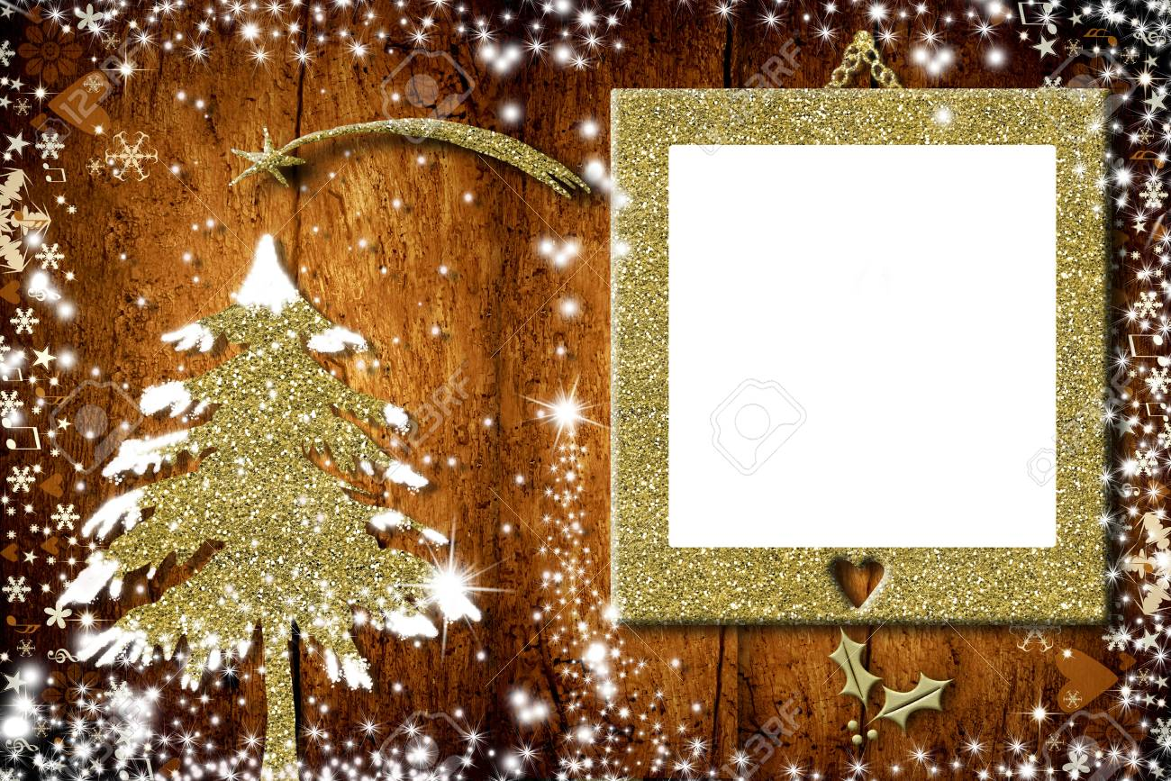 Photo Frame Christmas Cards, Christmas Tree Of Golden Glitter ...