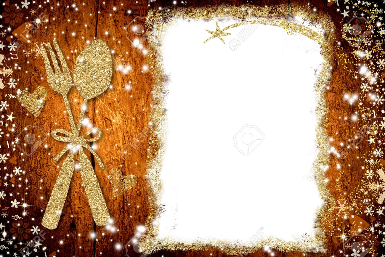 Fond Pour écrire Le Menu De Noël Parchemin Vide Blanc Cuillère D Or Et Fourche à Main Levée Dessiné Sur Le Vieux Fond En Bois