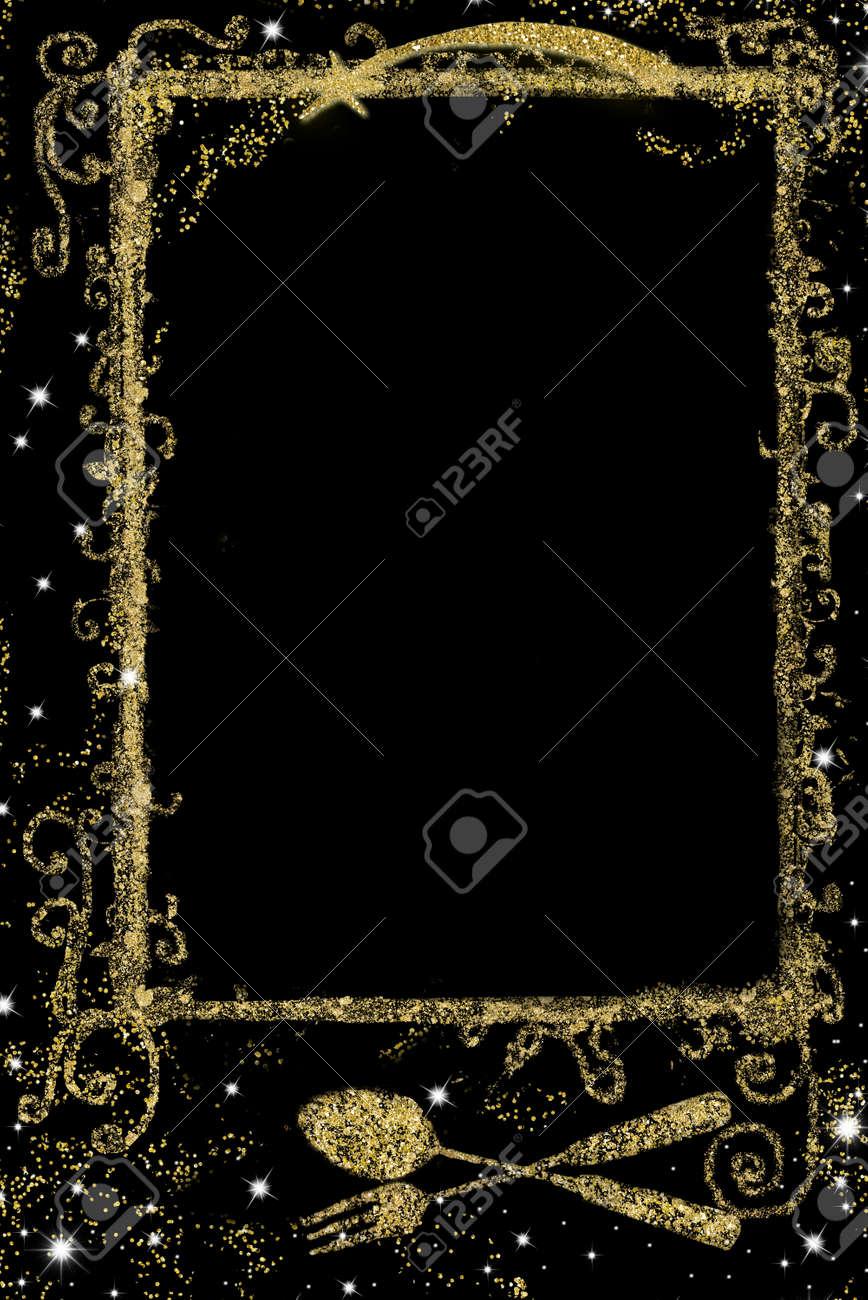 Image Ou Photo De Noel.Fond Pour L Ecriture De Menu De Noel Paillettes D Or A Main Levee Dessin De Symbole De Menu Ou De Recettes Et D Espace Vide Sur Fond Noir Image