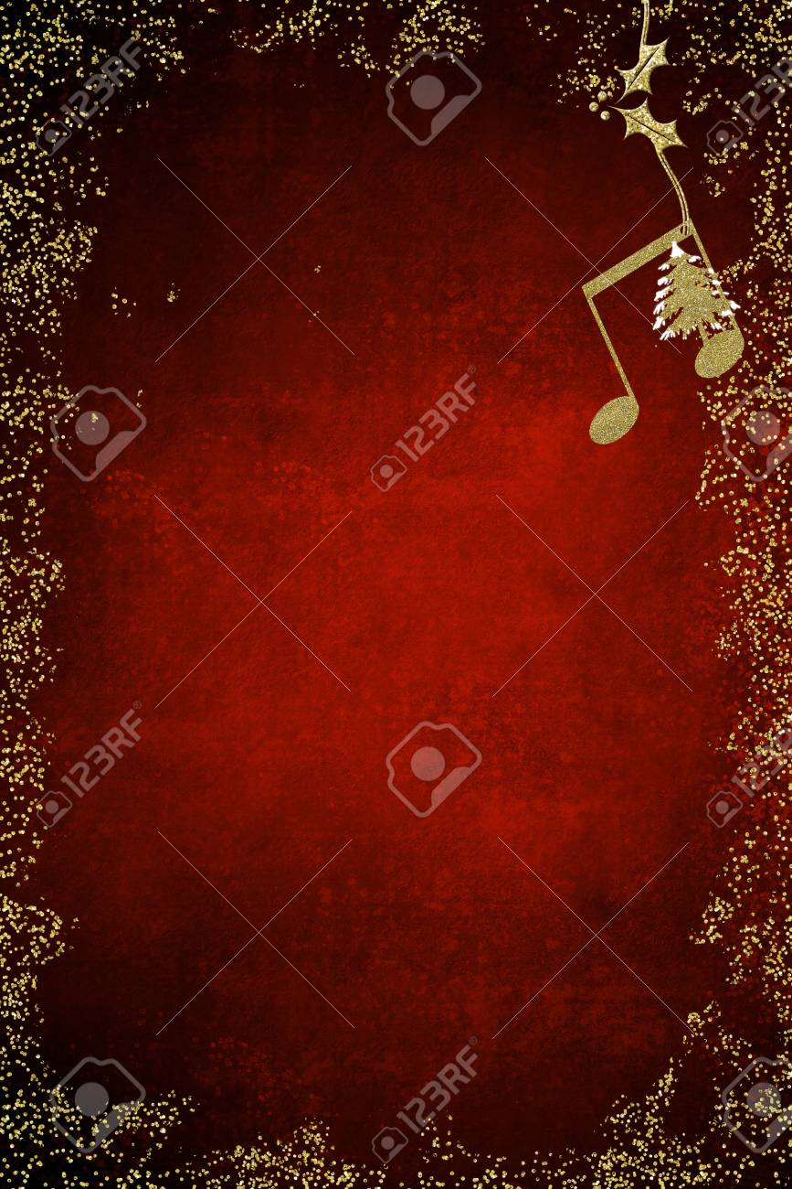 Christmas musical card quaver and christmas tree golden glitter christmas musical card quaver and christmas tree golden glitter texture on blue background with copy buycottarizona Image collections