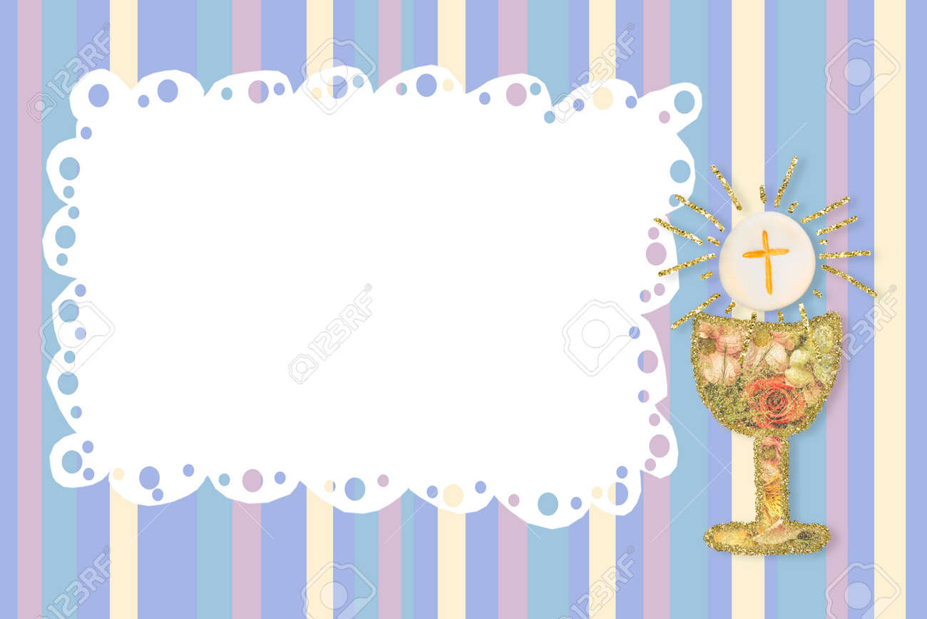 First Holy Communion invites card . Chalice and cute photo frame on colorful lines paper background