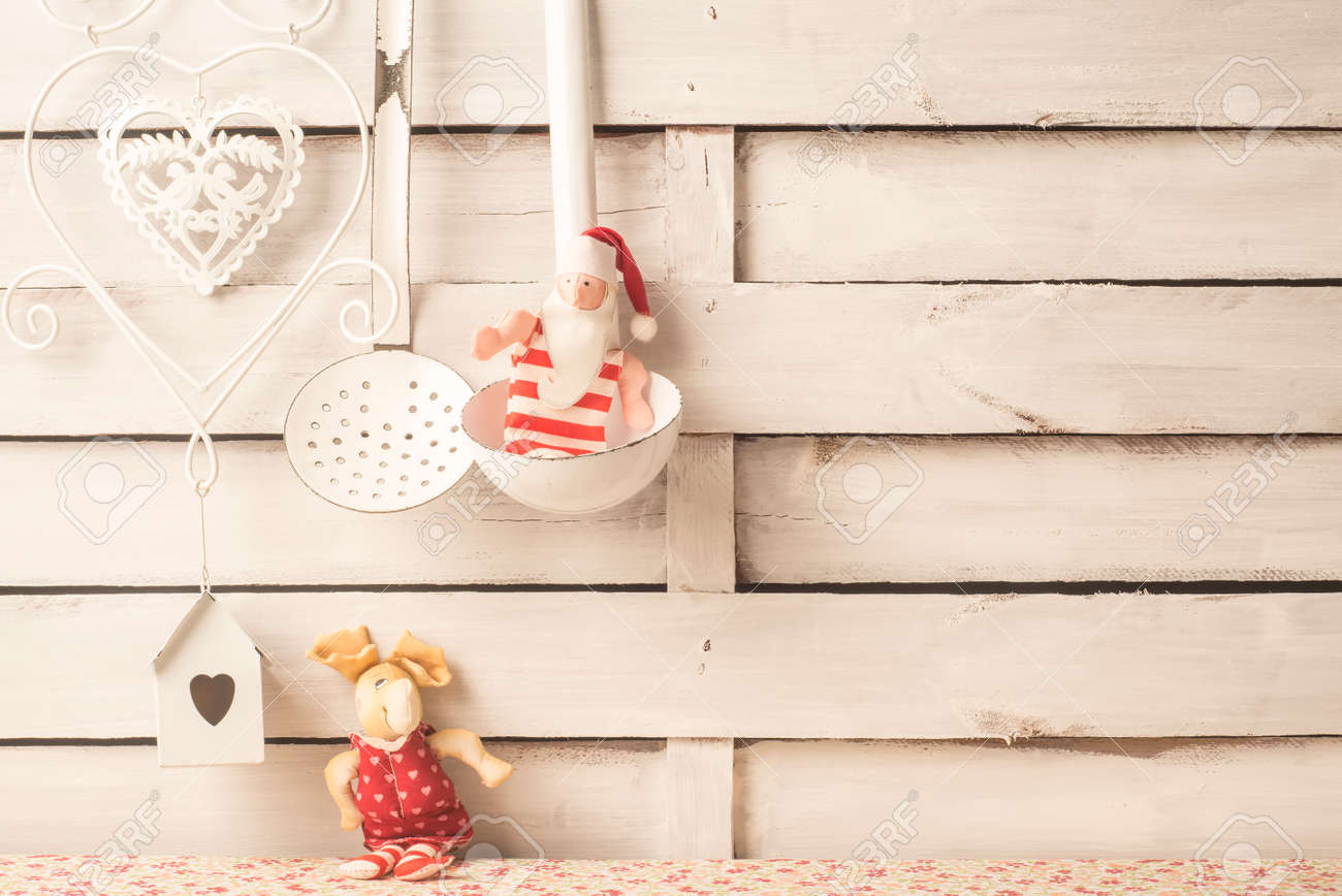 Christmas greetings cards, menu background. Old Santa and reindeer..