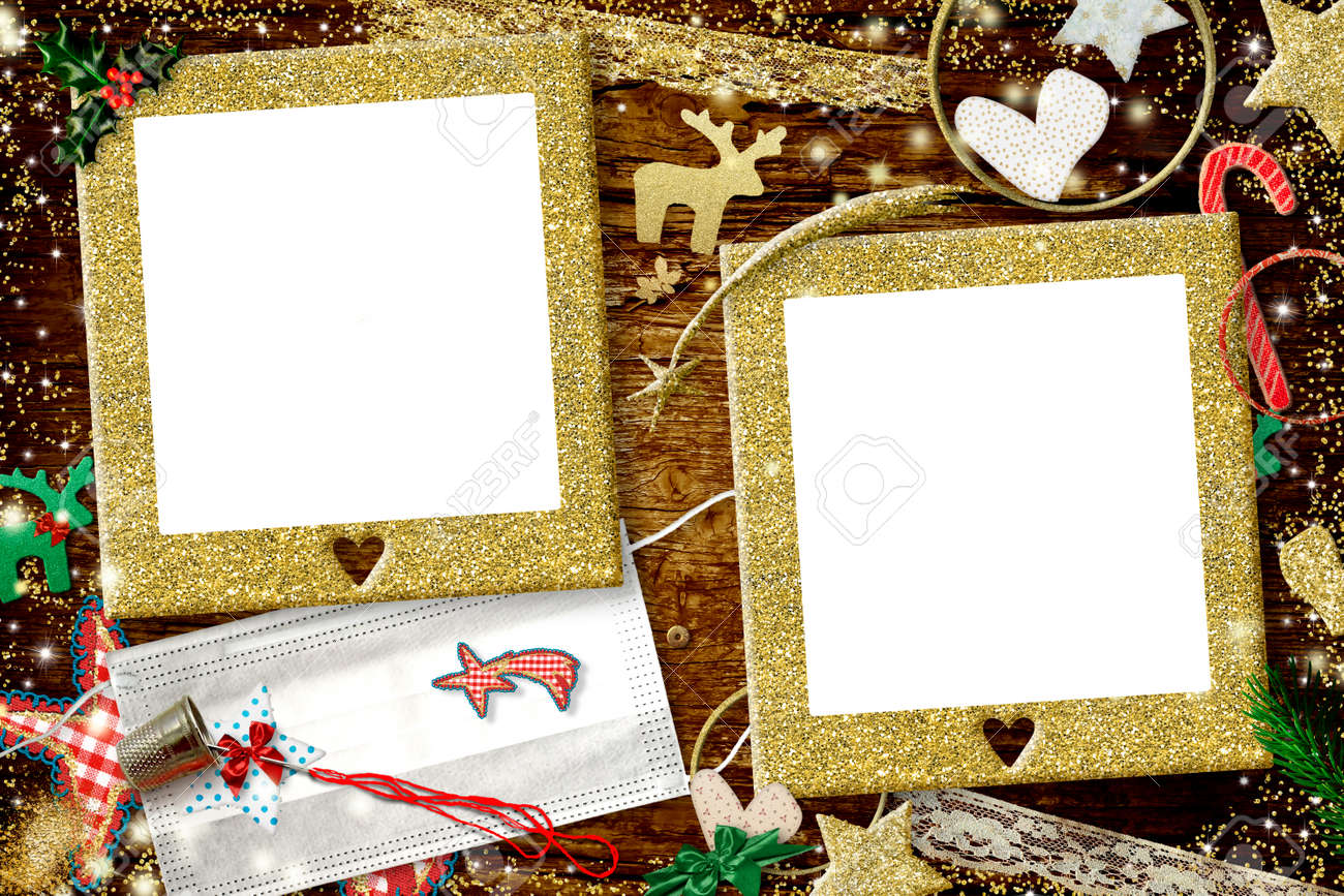 Christmas coronavirus two photo frames card. Christmas with two gold glitter empty photo frames, Christmas ornaments and two masks to customize by hand, diy concept. - 160821683