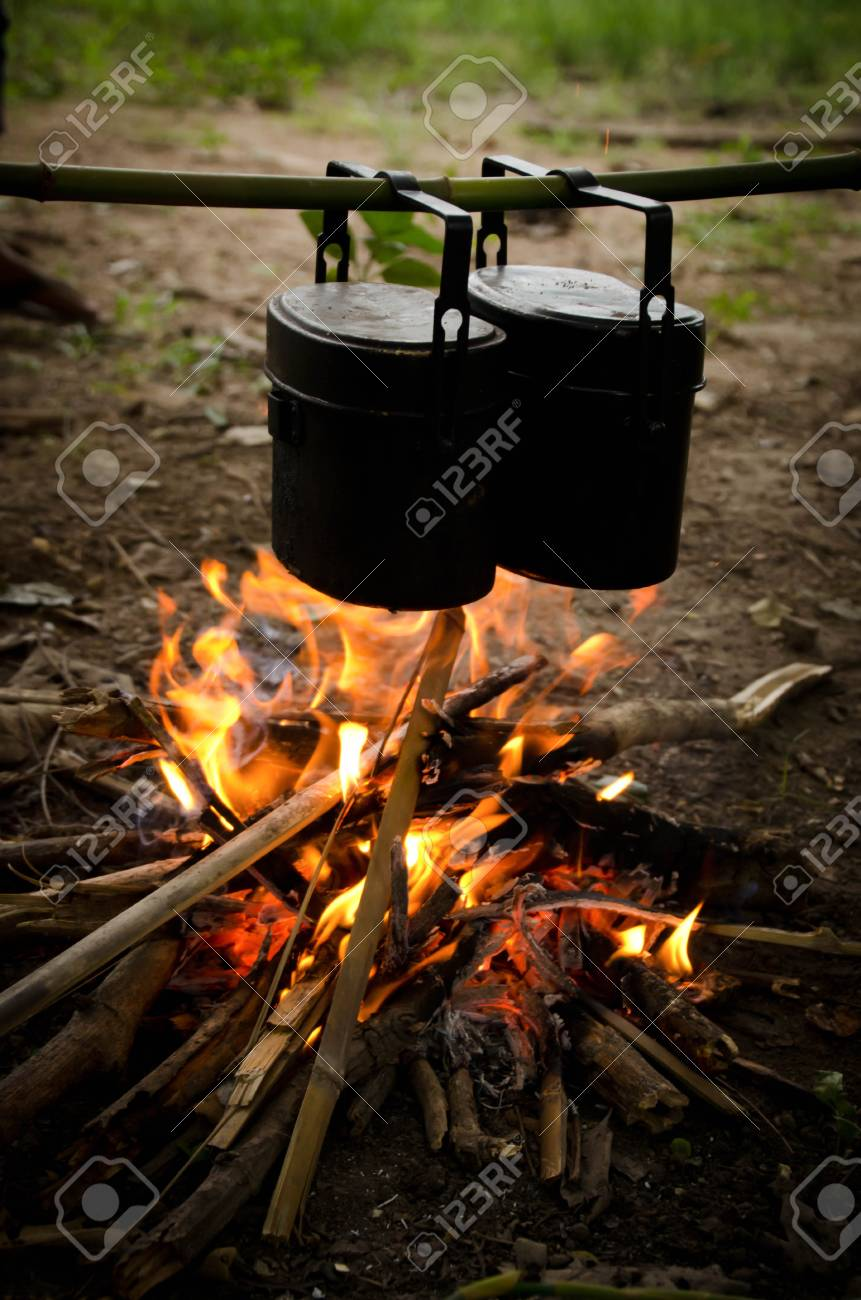 Camping Pots And Fireplace Stock Photo Picture And Royalty Free