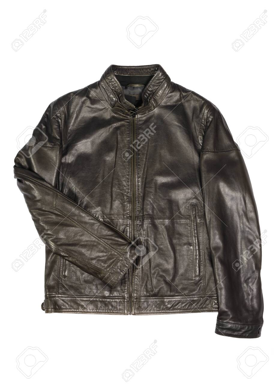 mens leather jacket on a white background isolated - 131915652
