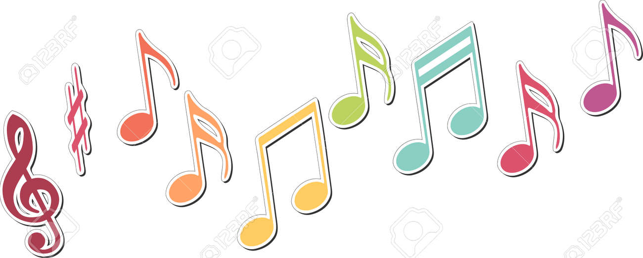 colored music notes royalty free cliparts vectors and stock