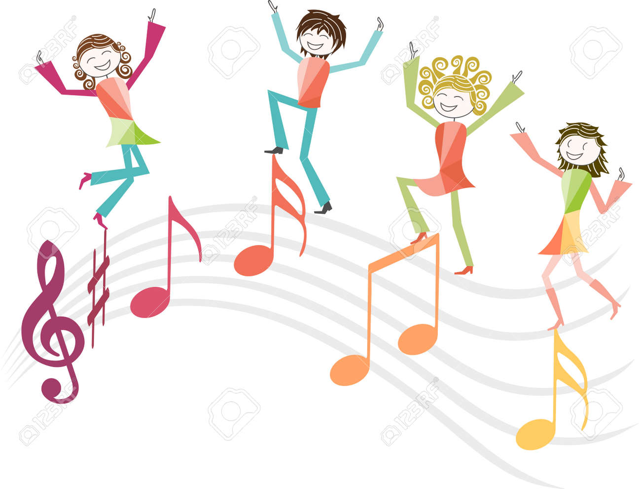 people jump with joy or dance on music notes royalty free cliparts rh 123rf com White Music Note Vector Music Note Clip Art