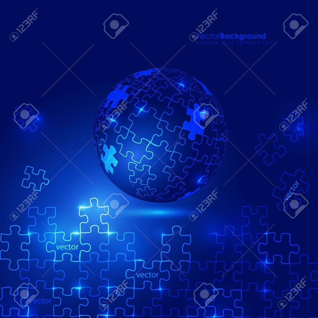 Glowing Blue 3d Globe Puzzle Vector Background Stock Vector - 9336522