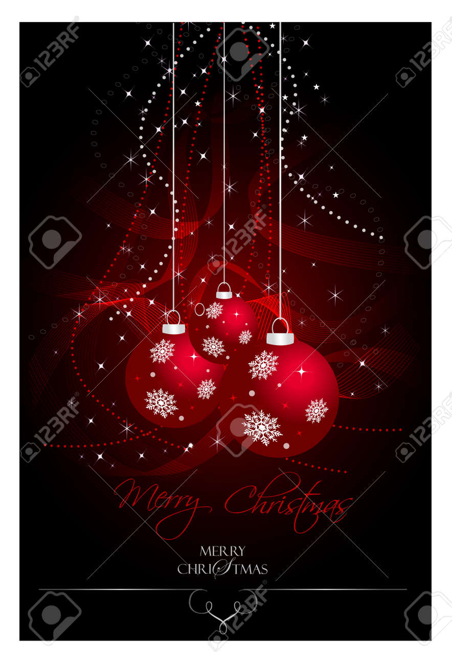 Red Christmas bulbs with stars and waves Stock Vector - 11041640