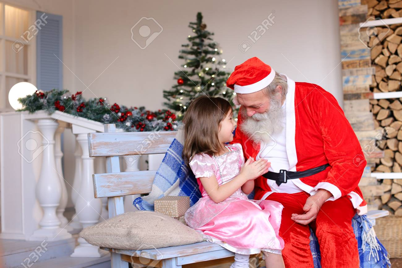 173586577849 Pretty Princess Dressed In Rosy Frock Whirling Near Father Christmas ...