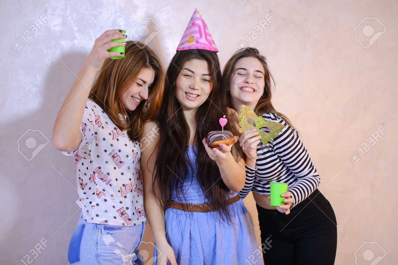 Concept Of Beautiful And Happy Women Friends Birthday Greetings Party Cheerful Mood