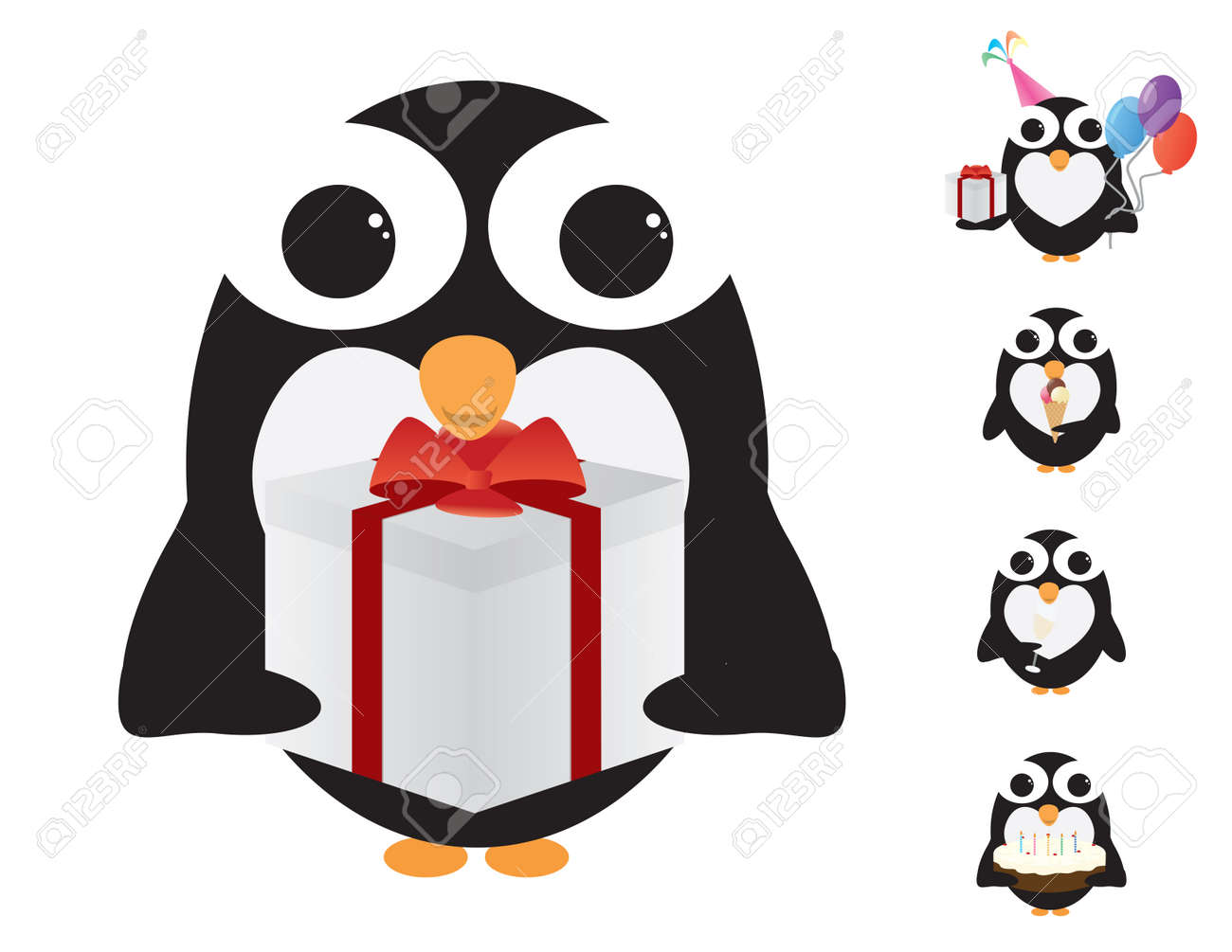 black and white penguin celebrating birthday party royalty free