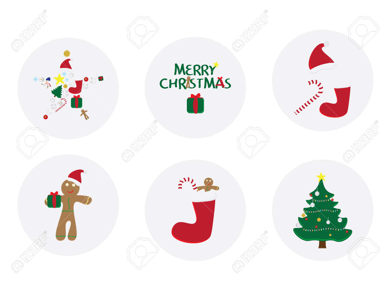 Set Of 6 Round Christmas Cards Circle Merry Christmas Card With