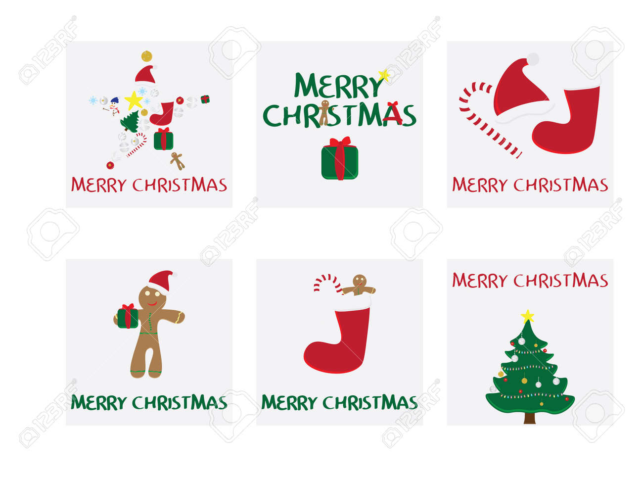 Merry Christmas Gift Tags.Set Of 6 Christmas Cards Merry Christmas Card With Vector Illustrations