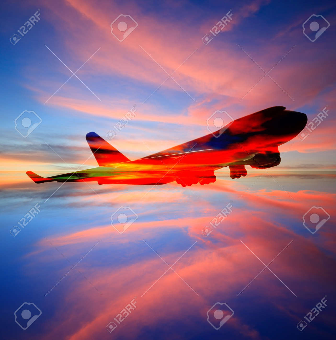 passenger plane on sky at sunset time very beautiful , use for air transport ,journey and travel industry business - 40644735