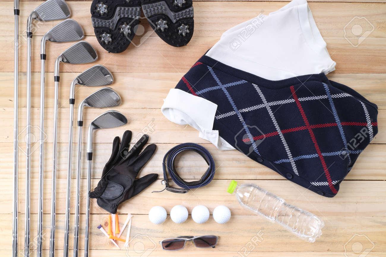 Golf equipment on wood floor preparing for good game - 41467022