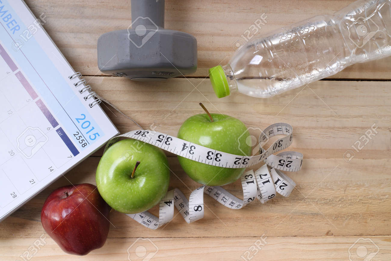 sports, fitness, recording, notepad, concept of weight loss, diet, nutrition - 41524835