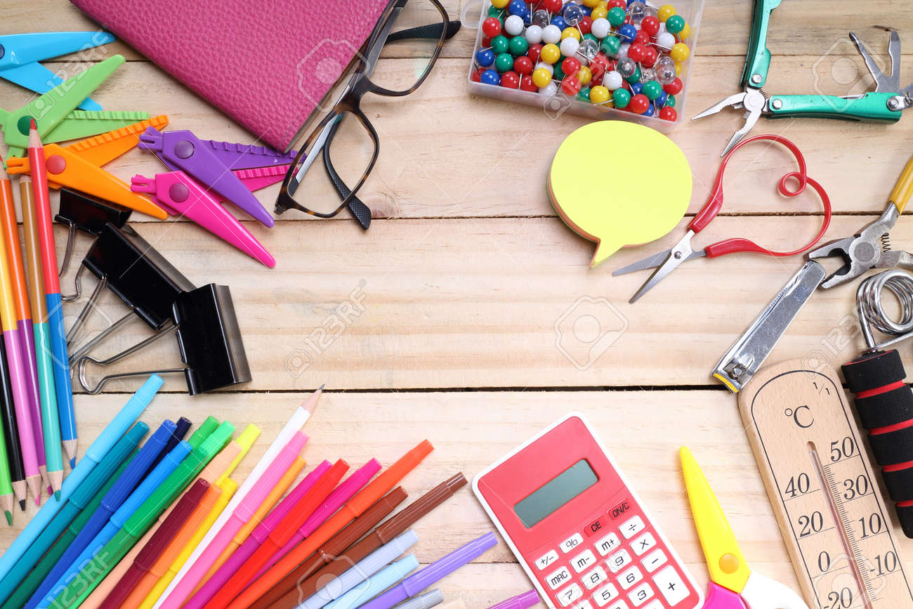 School and office stationary on wood table . Back to school concept - 41717031