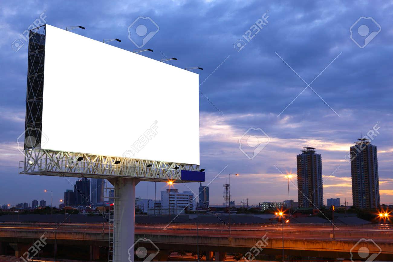 Blank billboard for advertisement at twilight - 44120796