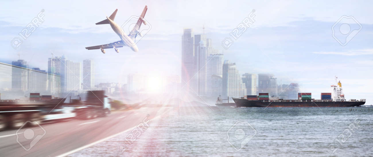 container truck ,ship in port and freight cargo plane in transport and import-export commercial logistic ,shipping business industry - 46785789