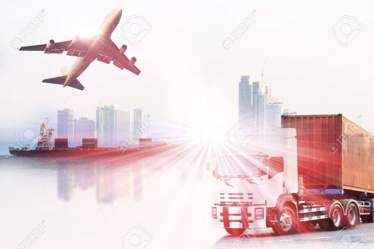 container truck ,ship in port and freight cargo plane in transport and import-export commercial logistic ,shipping business industry - 46785875