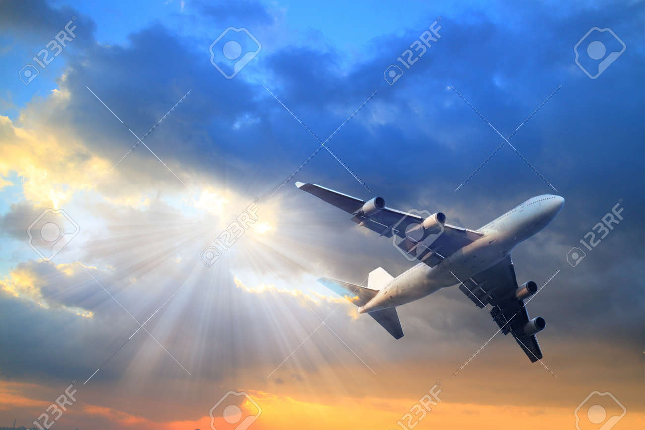 passenger airplane in the clouds. travel by air transport - 47476698