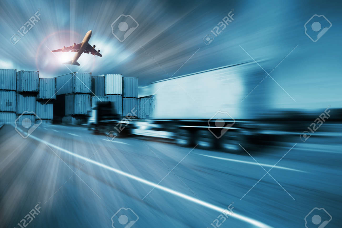 container truck , freight cargo plane in transport and import-export commercial logistic ,shipping business industry Stock Photo - 47606479