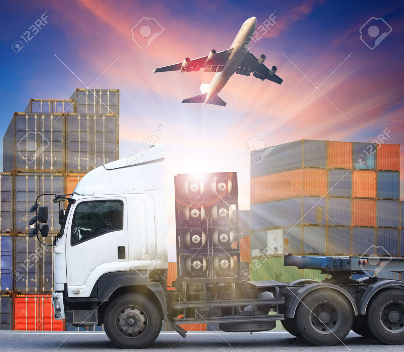 container truck and freight cargo plane concept of import-export commercial logistic ,shipping business industry - 47668755