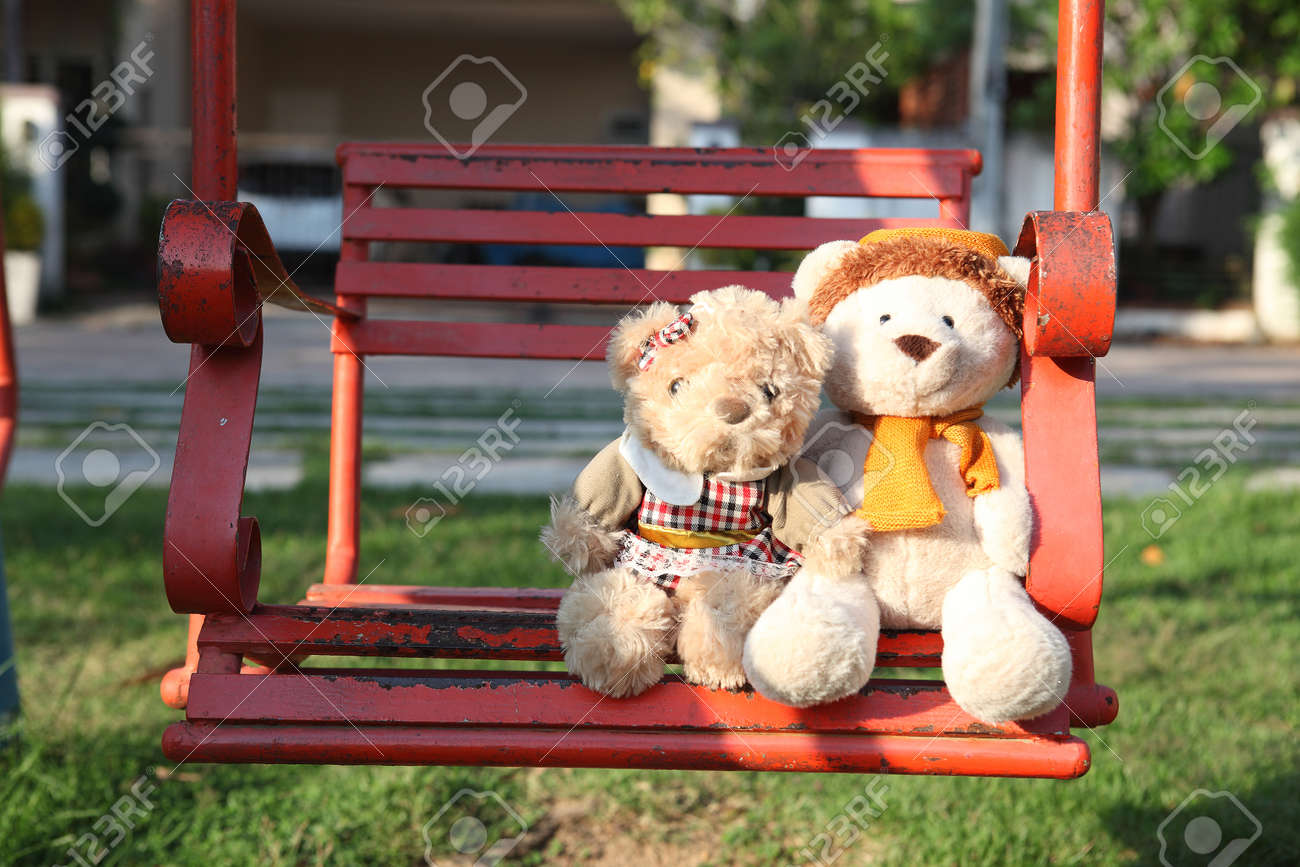 Teddy bears sitting with love. Concept about love and relationship - 48404888
