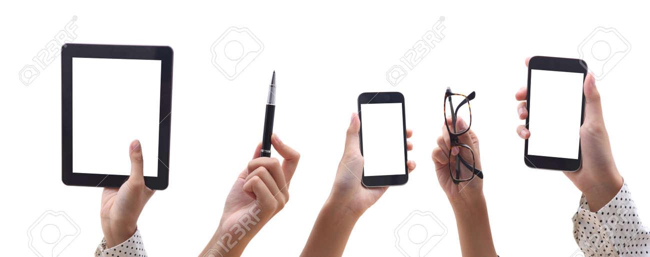 Viele Hande Die Verschiedene Arten Der Kommunikation L Telefon