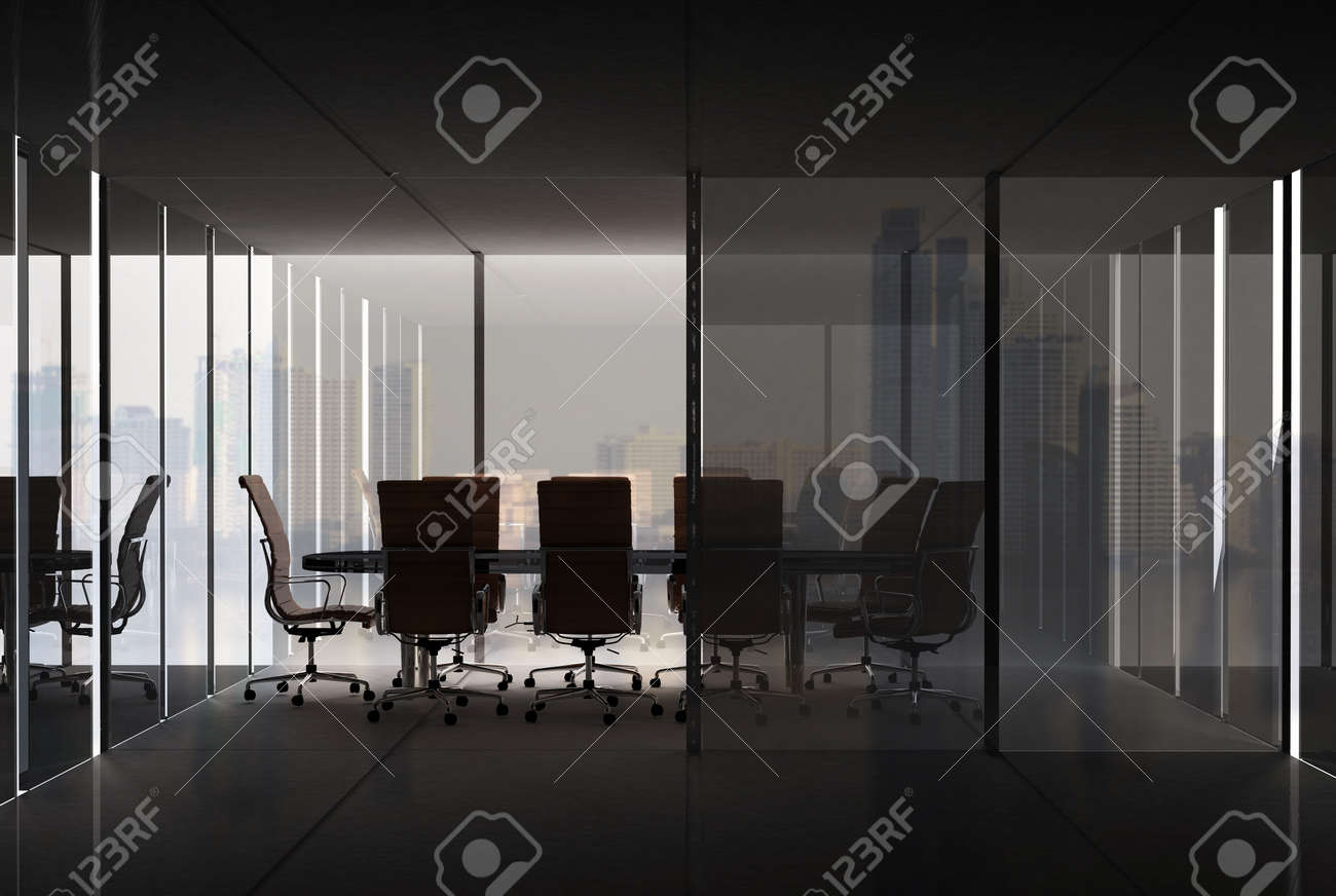 Modern Empty Office Interior Meeting Room With City Background For Business Concept Stock Photo