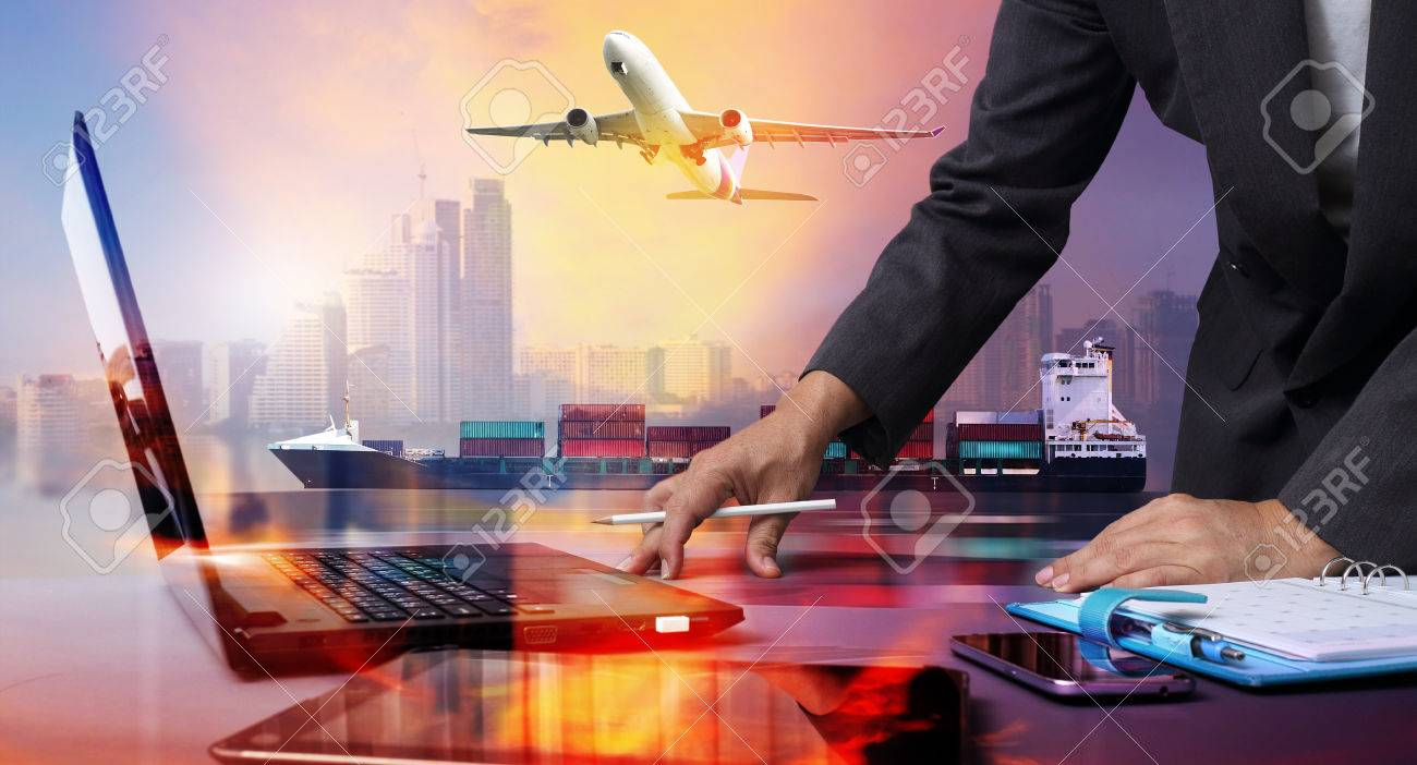 businessman working with Container Cargo ship and Cargo plane with big city in seaport , logistic import export background and transport industry. - 65198834