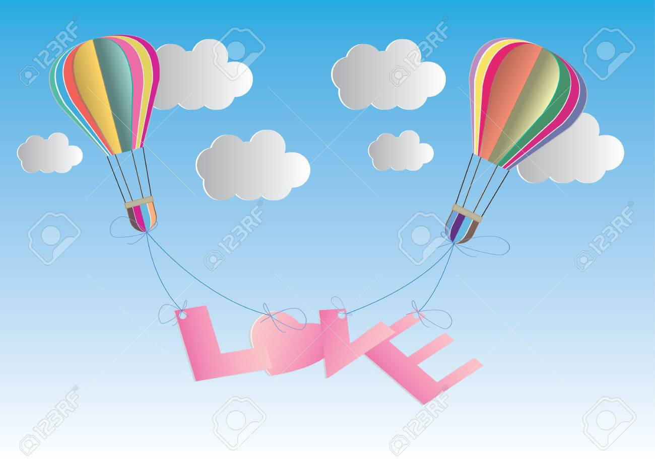 Concept of love and valentine day origami made hot air balloon concept of love and valentine day origami made hot air balloon in a heart shape jeuxipadfo Choice Image
