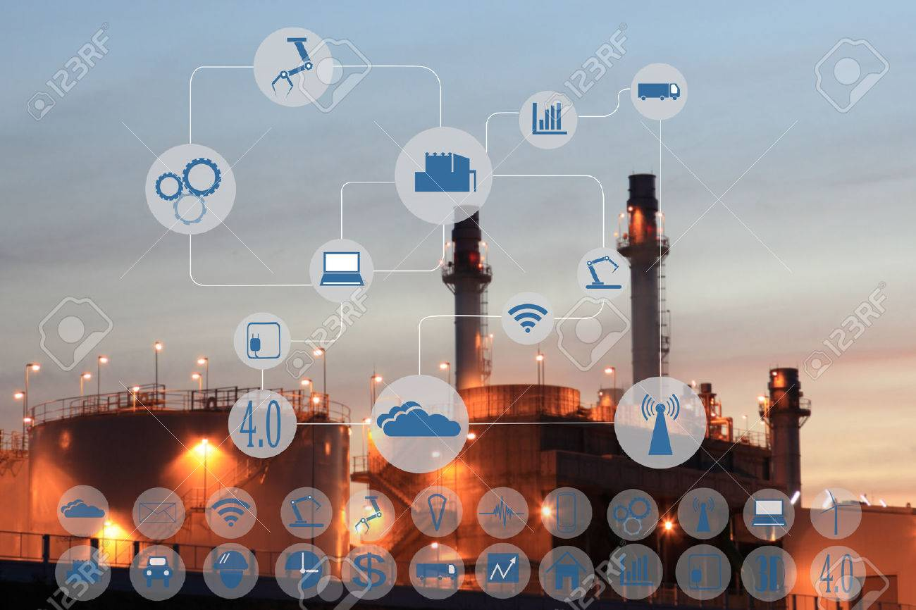 Industry 4.0 concept image.Oil refinery at twilight with cyber and physical system icons diagram on industrial factory and infrastructure background. - 68384387