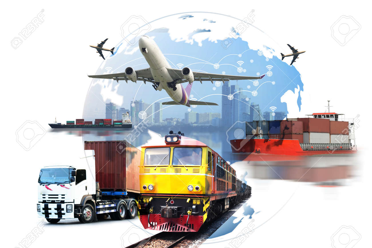 Global business of Container Cargo freight train for logistic import export, Business logistics concept , Air cargo trucking , rail transportation , maritime shipping , On-time delivery - 81157978