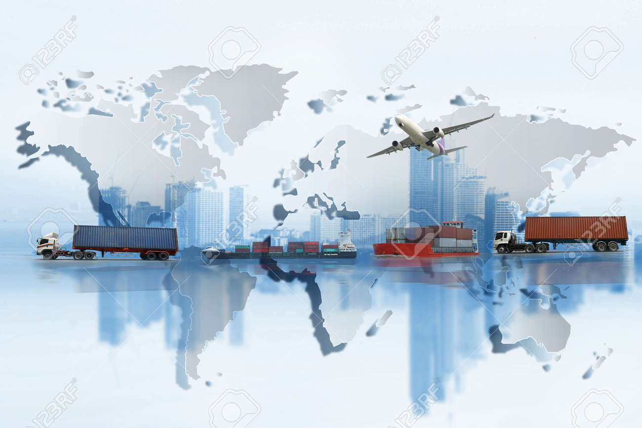 Shipping, delivery car, ship, plane transport on a background map of the world - 82574558