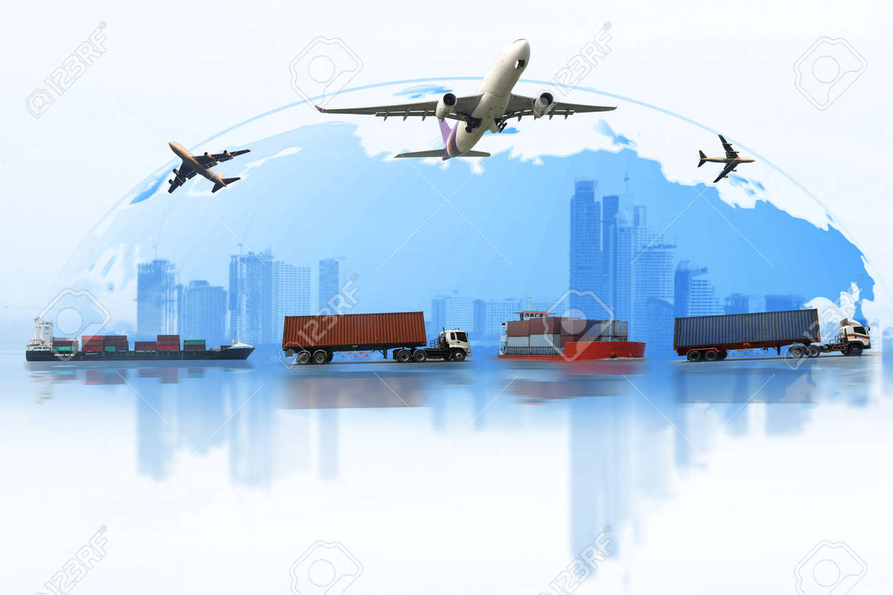 shipping, delivery car, ship, plane transport on a background map of the world. fast delivery concept. delivery global business of container cargo freight train for logistic import export, business logistics concept , air cargo trucking , rail transportation , maritime shipping , on-time delivery - 82560226
