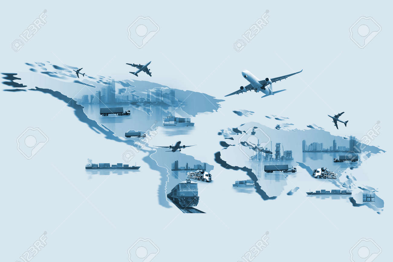 Shipping, delivery car, ship, plane transport on a background map of the world - 82560343