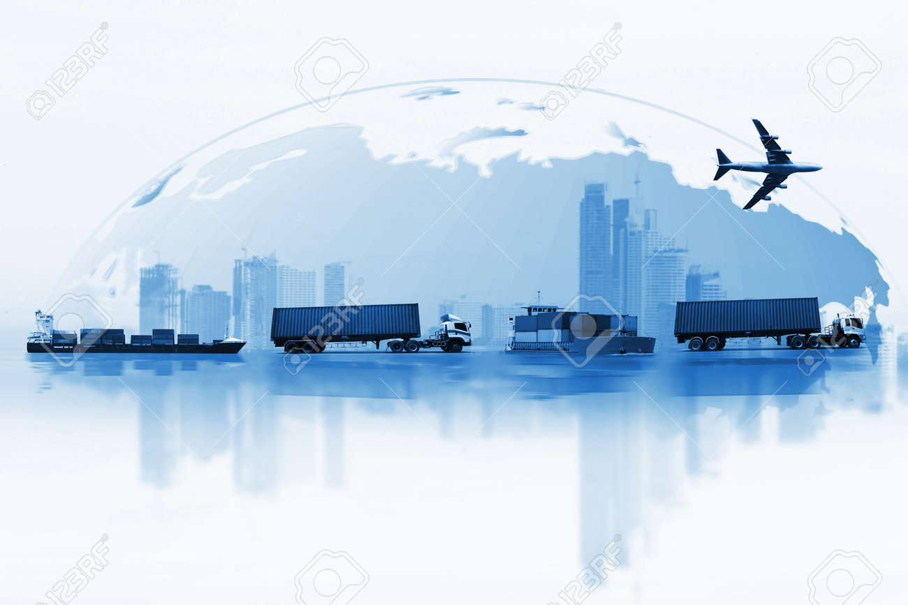 Shipping, delivery car, ship, plane transport on a background map of the world - 82560341
