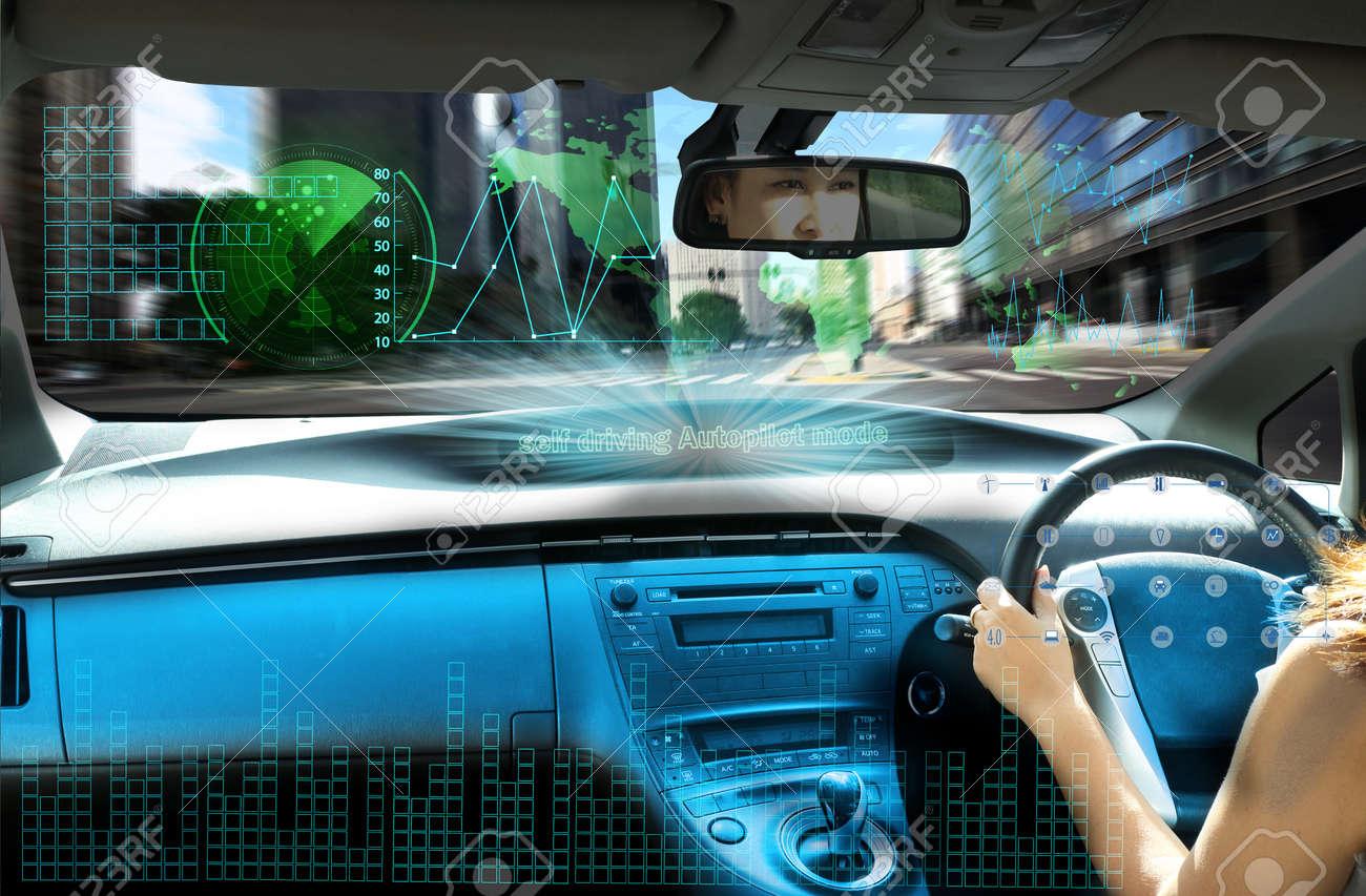 self-driving autopilot mode , autonomous car, vehicle running self driving mode and a woman driver - 85364281